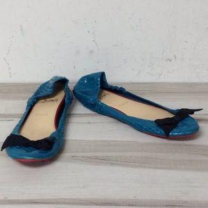 Christian Louboutin Blue Reptile Leather Bow Flats